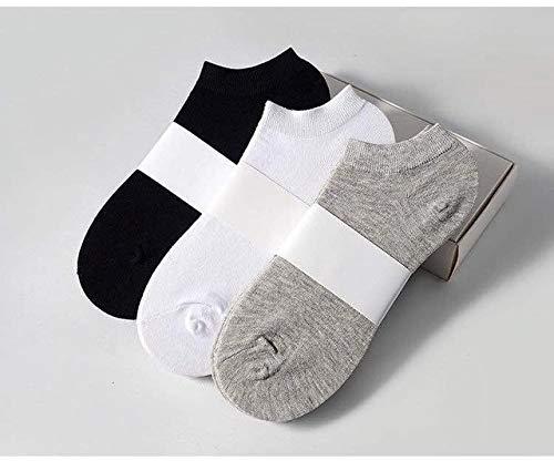 10 Pares de Calcetines de Mujer Calcetines Deportivos Transpirables Calcetines de Barco de Color sólido Calcetines Tobilleros de algodón cómodos Blanco Negro-a17-10 Pair