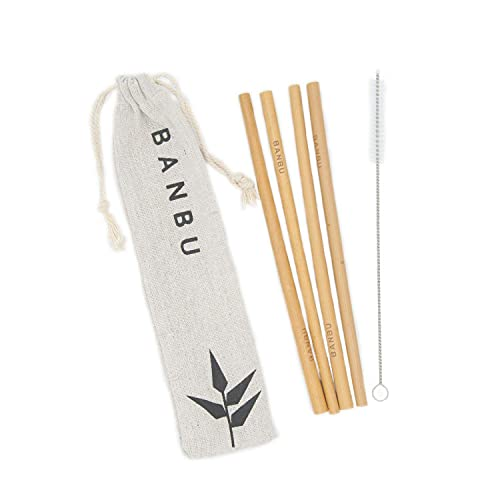 Set 4 Pajitas de Bambú Reutilizables Banbu