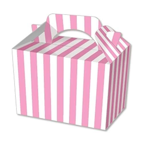 We Can Source It Ltd - 10 cajas de cartón para fiestas con diseño de rayas de caramelo, color rosa