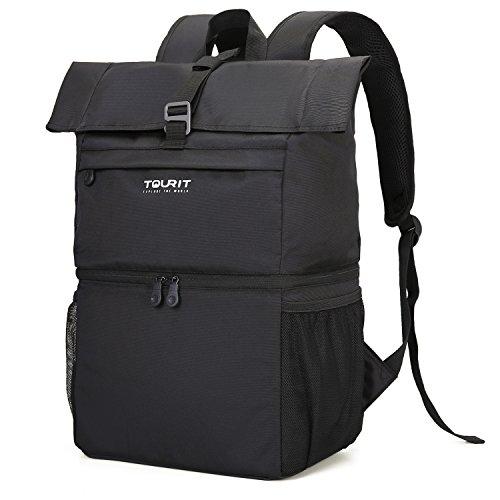 TOURIT Kühltasche Leicht Rucksack Kühl mit Laptopfach für Laptop bis zu 15,6 Zoll Doppelte Schicht für Arbeit, Reisen, Camping, Wandern Schwarz