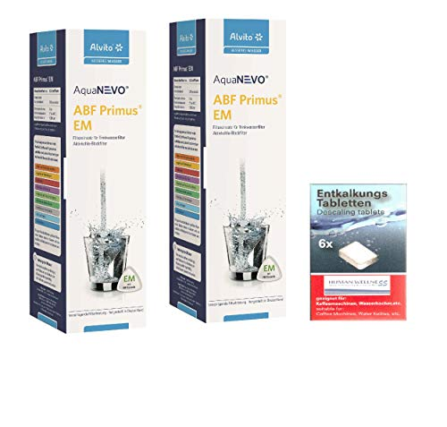 Alvito 2 x Wasserfilter ABF Primus EM AquaNevo - Aktivkohle Blockfilter Keramik + Entkalkertabs