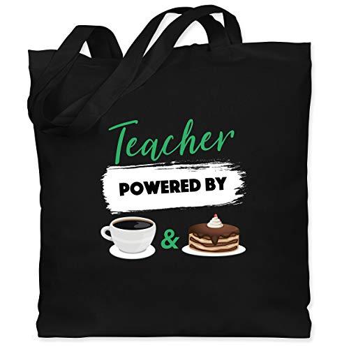 Lehrer - Teacher powered by coffee & cake - Unisize - Schwarz - jutebeutel lehrer - WM101 - Stoffbeutel aus Baumwolle Jutebeutel lange Henkel