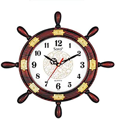 Stop to Shop Plastic Anchor Standard Size Antique Look Wall Clock (Cherry)