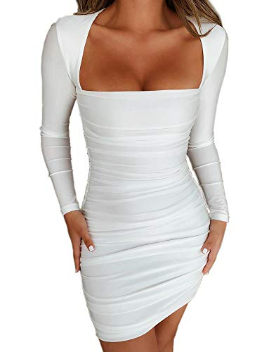 Long Sleeve Dresses for Women Sexy Bodycon Party Club Night Mini Dresses (M, White)