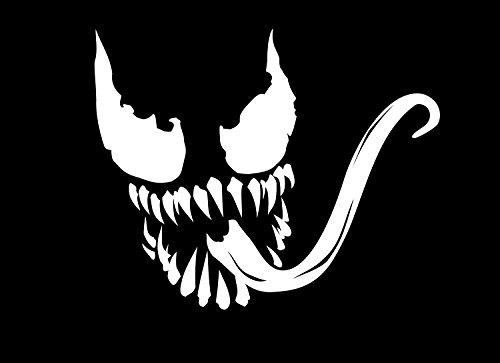 Marvel Comics Venom Spider - Adhesivo decorativo para coche, tableta, portátil, monopatín, color blanco