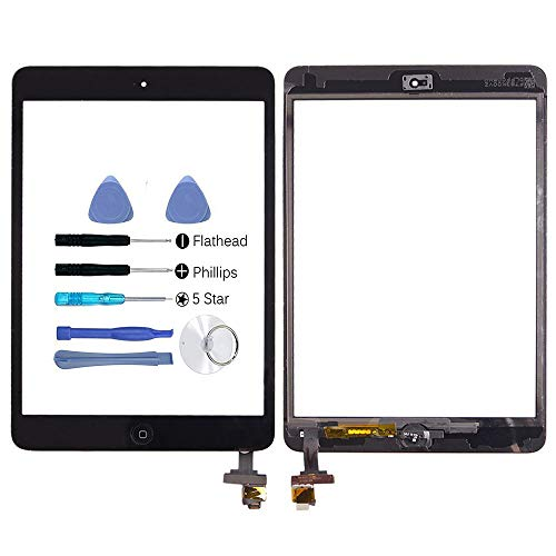 Hedywei Replacement Front Panel/Touch Screen for iPad Mini with Digitizer, Includes Integrated Circuit (IC Chip), Mounting Tools and Adhesive iPad mini nero