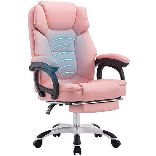 HHJJ Silla de videojuegos, material de metal, reclinable, masaje de cintura en línea, servicio de atención al cliente, silla de pie, reposapiés telescópico, de piel, color rosa, 50834H9E6H