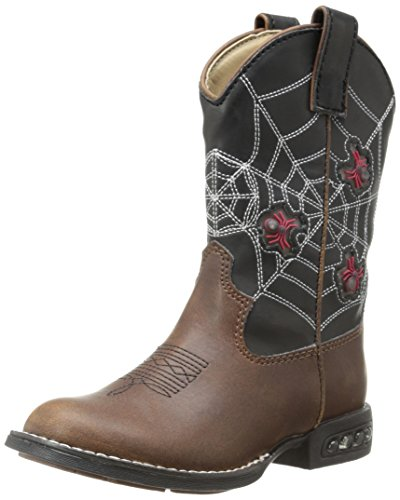 Roper Light Up Spiders Western Boot (Toddler/Little Kid),Brown/Black,12 M US Little Kid