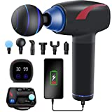HOIBAI Muscle Massage Gun deep Tissue Percussion Massager Handheld Electric Body Joint Fascia Gun Mute Portable 30 Speed Suitable for Gym/Office/Home Exercise to Relieve Pain (black-03)