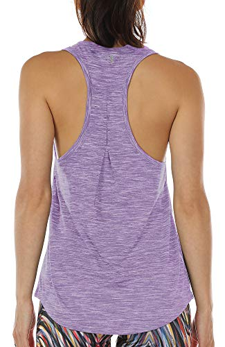 icyzone Workout Tank Tops for Women - Athletic Yoga Tops, Racerback Running Tank Top, Gym Exercise Shirts (Lavender, S)