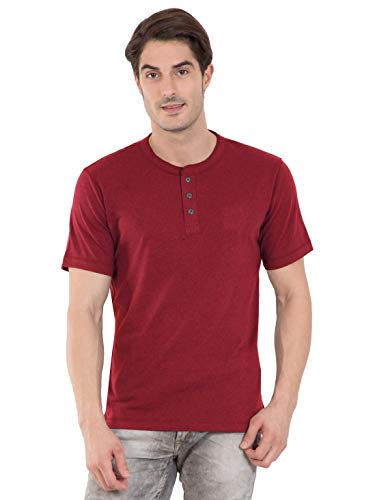 Jockey Men's Solid Regular Fit T-Shirt (US86-0105-REDML_Red Melange_Small)