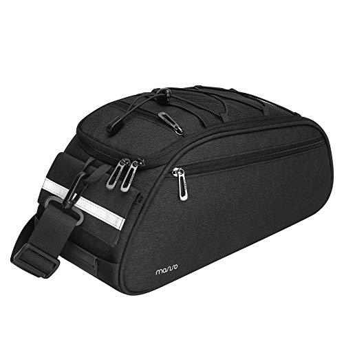 MOSISO Bike Rack Bag, Waterproof Bicycle Trunk Pannier Rear Seat Bag Cycling Bike Carrier Backseat Storage Luggage Saddle Shoulder Bag, Black