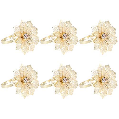 YEAHIBABY Serviettenringe,Exquisite Hotel Restaurant Blume Servietten Halter für Hochzeitsbankett Weihnachtsessen Dekoration,12 stücke (Gold)
