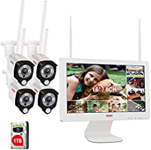 [3MP&2 Way Audio]Tonton Wireless All-in-One Ultra HD Security Camera System with 16 Inch Monitor, 8CH WiFi NVR with 1TB HDD,4PCS 3MP Outdoor Bullet IP Cameras with PIR Sensor,Floodlight,Plug and Play