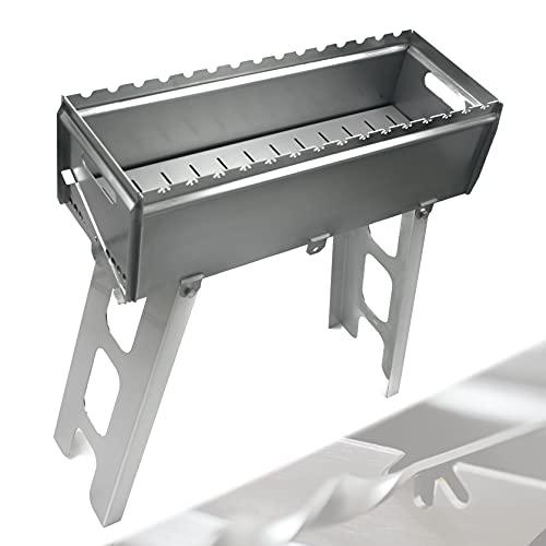 Schaschlik Grill TMG700 | Qualitätsprodukt aus Deutschland | 100 % aus Edelstahl (witterungsfest) | 2,5 mm Materialstärke (hitzebeständig) | Grillfläche für 14 Spieße