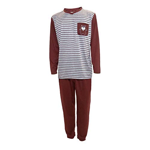 Mini kitten - Pijama de Caballero Hombre de Algodon Fino Manga Larga con Pantalon Largo y de Cuello Pico/Ropa para Dormir de Hombre