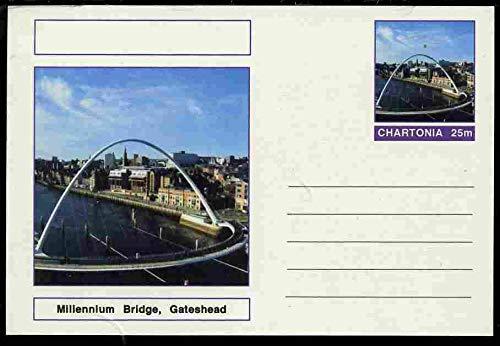 Chartonia (Fantasy) Bridges - Millennium Bridge, Gateshead postal stationery card unused and fine BRIDGES CIVIL ENGINEERING JandRStamps