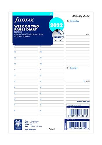 Filofax - Agenda 2022 in formato A5, settimana su due pagine, in lingua inglese