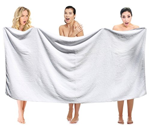 Extra Large Premium Bath Towels Set – 100% Cotton Towels for Hotel and Spa, Maximum Softness and Absorbency (4 Pack, White) Turkish Cotton Bath Sheet, (Oversized Large 40 by 87 inches)