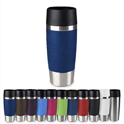 Emsa 513357 Travel Mug Classic Thermo-/Isolierbecher, Fassungsvermögen: 360 ml, hält 4h heiß/ 8h kalt, 100% dicht, auslaufsicher, Quick-Press-Verschluss, 360°-Trinköffnung, blau