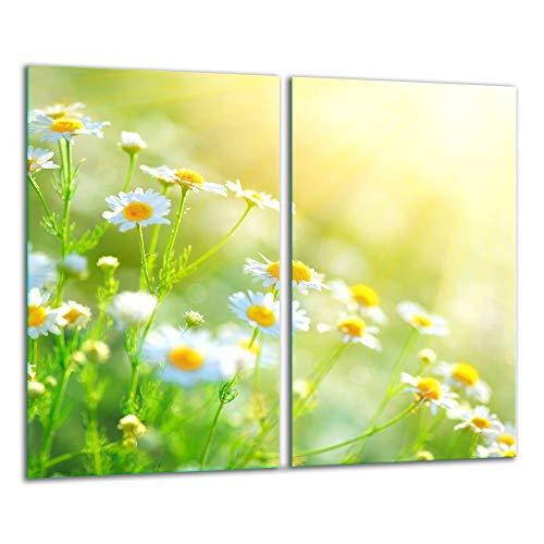 TMK - Piastra di copertura per piano cottura in vetroceramica 2 x 30 x 52 cm induzione universale per piani cottura protezione antispruzzo tagliere in vetro temperato come decorazione, fiori