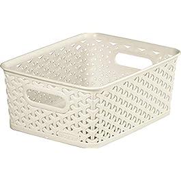 CURVER Panière de rangement 13L en Plastique avec un Design Rotin Tressé pour Salle de Bain, Chambre, Bureau – Poignées…