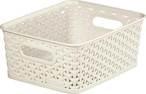 CURVER Panière de rangement 13L en Plastique avec un Design Rotin Tressé pour Salle de Bain, Chambre, Bureau - Poignées Ergonomiques - Ivoire