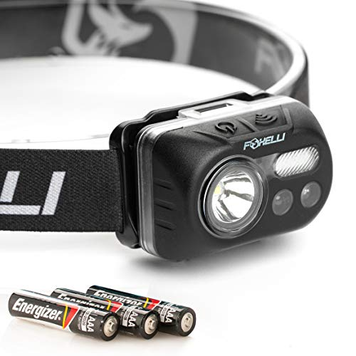 Foxelli Headlamp Flashlight – Bright LED Head Lamp with Motion Sensor, 3 x AAA Batteries Operated (Included), Lightweight, Waterproof Head Light with Comfortable & Adjustable Headband