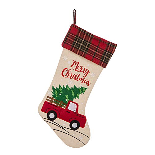 "Glithome Christmas Stocking 21"" L Embroidered Linen Red Truck Hooked Xmas Stocking for Christmas Decorations and Party Accessory"
