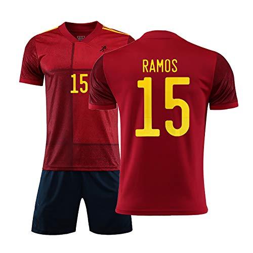 YLHLZZ Jersey de fútbol, 2020 España Jersey para Ramos 15 Iniesta 6 Alcácer 9 Jersey, Adecuado para Adultos y niños, Traje de fútbol de Verano NO.15-2XL