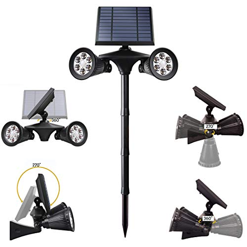 Dxyap Luz Solar para Exterior, Foco Solar, Super Brillante Iluminación, 270º Gran Angular de Ajuste, Lámpara Solar Exterior Impermeable IP54 para Jardín/Camino/Terraza