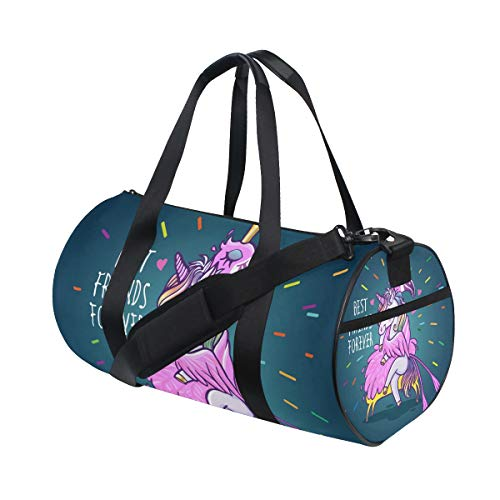 Cartoon Unicorn Flamingo Love Sports Duffle Bag Gym Bag Travel Duffel with Adjustable Strap, Best Friends Forever Backpack Weekend Bag Luggage Tote for men women