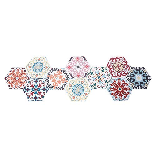 Oumefar Adhesivo decorativo autoadhesivo de pared antideslizante hexagonal para decoración del hogar