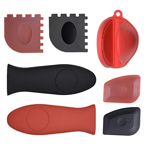GPOWER Pack of 7 Polycarbonate Cast Iron Cleaners Handle Covers 2 Grill Pan Scrapers 2 Pan Scrapers 2 Silicone Hot Handle Holders 1 Heat Resistant Glove,for Cast Iron Skillets