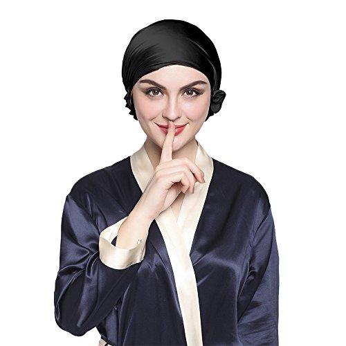 LilySilk Superweiche Seide Nachtmütze Schlafhaube Kappe Hut Kopfbedeckung für Haarpflege Atmungsaktive Schlafmütze mit Band Verpackung MEHRWEG - Schwarz