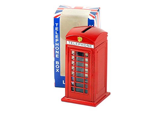 London Red Telephone Kiosk Money Box Made of Die-Cast Metal, Collectible Souvenir - F3996 by Money Boxes