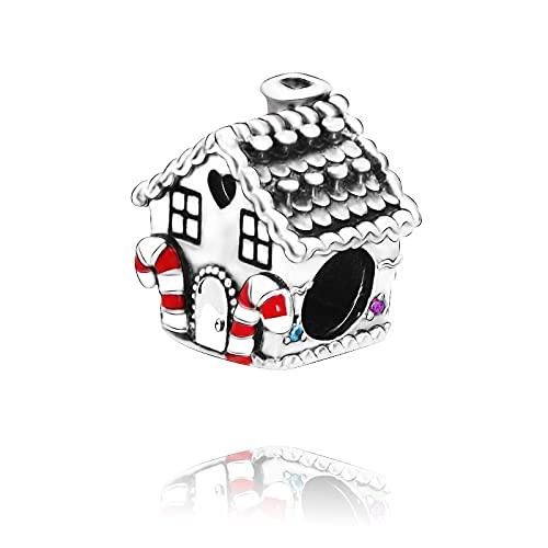 Pandora 925 Colgante de plata esterlina Diy Charm de Navidad Genuino Gingerbread Beads Home Charm Fit Original Pandora Pulseras Joyería Femenina