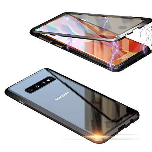 Jonwelsy Schutzhülle für Samsung Galaxy S10 (6,1 Zoll), 360 Grad vorne und hinten, transparent, gehärtetes Glas, Starke Adsorptionstechnologie, Metall Bumper Schwarz