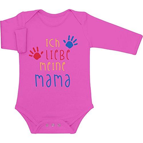 Shirtgeil Ich Liebe Meine Mama - Mutter Geschenk Babies Jungen Mädchen Baby Langarm Body 12-18 Monate Wow rosa