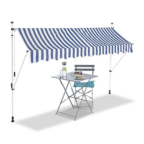 Relaxdays, bleu-blanc Auvent rétractable 300 cm Store balcon marquise soleil terrasse hauteur réglable sans perçage, 300 x 120 cm