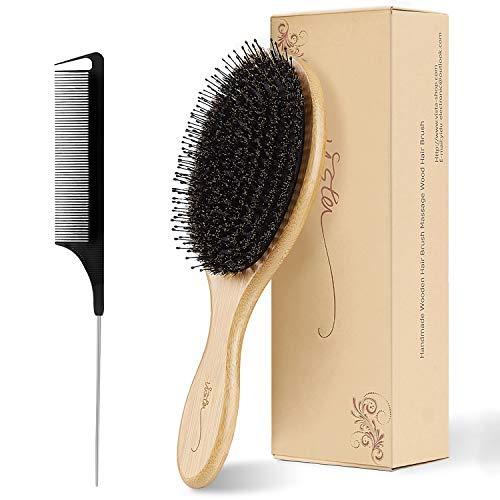 Brosse Cheveux Sanglier avec Poignée en Bambou Brosse Brushing Professionnel et Peigne a Queue Carbone Brosse Cheveux Excellentes Rend les Cheveux Brillants et Soyeux pour Démêler les Cheveux
