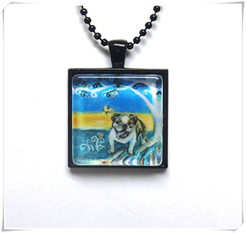 Elf House Bulldog Boom van het Leven Schilderen Glas Tegel Hanger, Kunst Kettingen, Prachtige Sieraden, Pure Handgemaakt