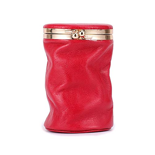 Ai-yixi Caja de cosméticos de diseño clásico con orina portátil y depósito rojo con espejo perfume, bolsa de tela, mini falda de decoración, perfecto salvaje (color: rojo, tamaño: A)