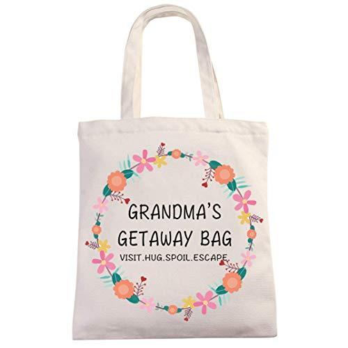 Divertida bolsa de lona de algodón de 12 onzas reutilizable | Bolsa de escapada de la abuela | Divertido regalo de la abuela para el día de la madre/baby shower/Navidad