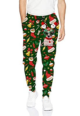 uideazone Men Women 3D Graphic Glasses Dog Jogger Sweatpants Ugly Christmas Jogging Pants Casual Trouser with Pockets for Xmas Celebration Party