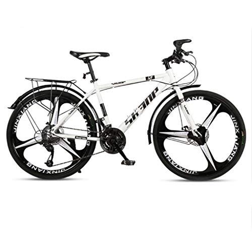 QJ Bicicleta de montaña, 30 Velocidad con Amortiguador de Cambio de Carrera en Carretera una Rueda de 26 Pulgadas Ligera Juvenil Bicicleta Blanca
