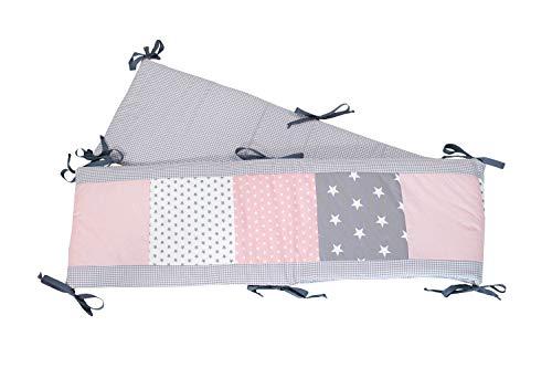 Protector para parque de ULLENBOOM ® con rosa gris (protección de 400x30 cm para parque de bebé; chichonera para parques de juego de 100x100 cm; para todo el contorno)