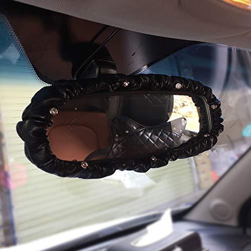 U So Shiny Car Rearview Mirror Cover Black, PU Leather Elastic Decorative Cover with Shiny Rhinestones, Automotive Interior Trim