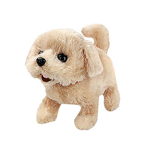 FNKDOR Plüschtier Kuscheltier Hund mit Funktion Laufen und Bellen, Hund Elektrisch Spielzeug für Kinder (Golden Retriever, 17×11×14cm)