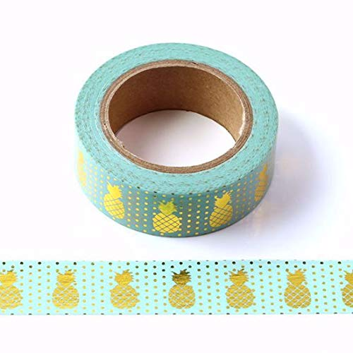 SusieBsupplies Vert menthe et feuille d'or Ananas Washi Tape – Rouleau 15 mm x 10 metres